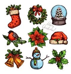 Christmas color sketch collection of attributes vector