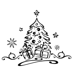 Christmas fir gifts vector image vector image