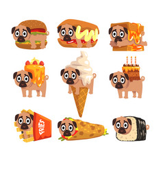 cute funny pug dog character as fast food vector image