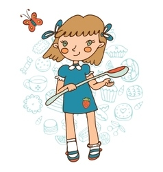 Cute girl holding a big spoon vector image vector image