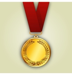 gold medal on red ribbon vector image