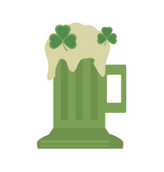 Green glass beer clover st patricks day vector