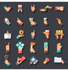 Hands Symbols Accessories Icons Set Flat Design vector image vector image