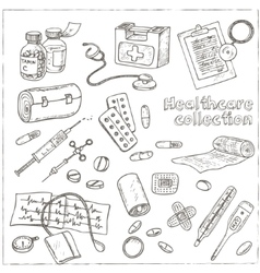Health care and medicine drawings sketches vector