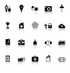 Insurance sign icons with reflect on white vector image vector image