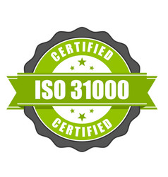 Iso 31000 standard certificate badge - risk manage vector