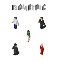 Isometric person set of female pedagogue vector