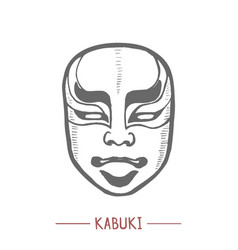 kabuki mask in hand drawn style vector image