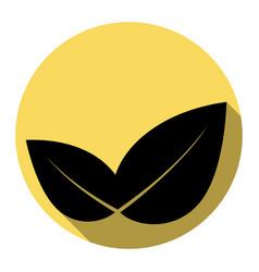 Leaf sign flat black icon vector