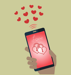 Mobile phone sending valentines hearts vector