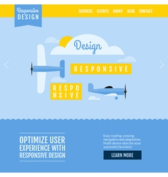Modern flat website template with planes vector image