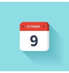 October 9 isometric calendar icon with shadow vector