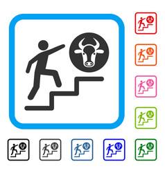 Person climbing to cow framed icon vector