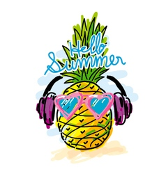 Pineapple listen to music for summer concepts vector