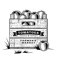 Retro crate of tomatoes black and white vector