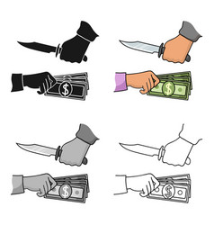 Robbery icon in cartoon style isolated on white vector