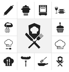 Set of 12 editable restaurant icons includes vector