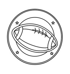 Silhouette circular border with football ball in vector