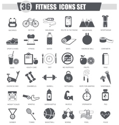 sport healthy fitness black icon set Dark vector image