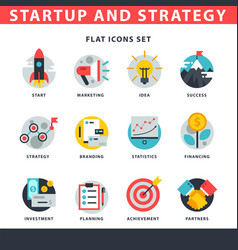 Startup and strategy web busines icon set for vector