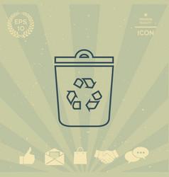 trash can recycle bin symbol icon vector image vector image