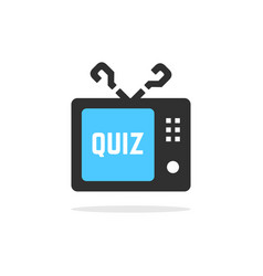 Tv quiz button with shadow vector