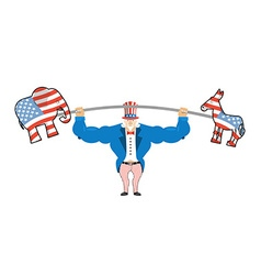 Uncle Sam and donkey and elephant democratic vector image vector image