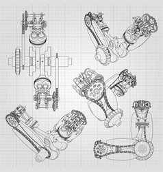 Various engine components pistons chains vector