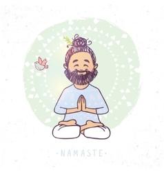 Yoga man namaste vector
