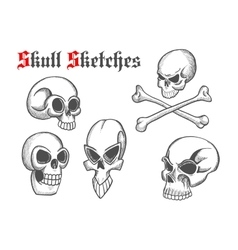Skull artistic pencil sketch icons vector