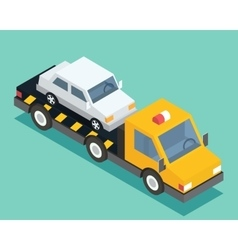 Evacuation isometric car road assistance service vector image
