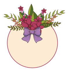 Circular floral spring frame with lilac ribbon vector