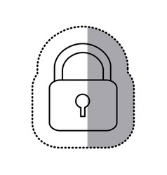 Monochrome contour sticker with padlock vector