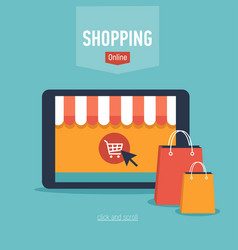 Banner of online shop with tablet and bags vector