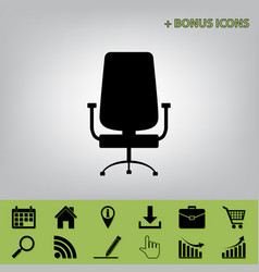 Office chair sign  black icon at gray vector