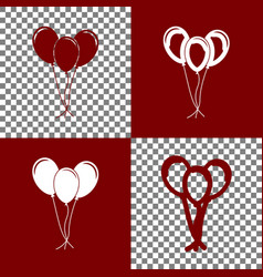 Balloons set sign  bordo and white icons vector