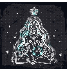 girl meditating vector image