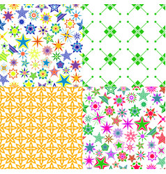 Pattern set with colorful cartoon stars vector