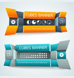 3d geometric shapes banners vector
