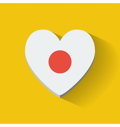 Heart-shaped icon with flag of Japan vector image
