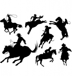 cowboys silhouettes vector image