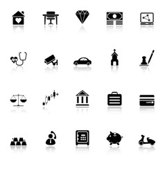 Insurance related icons with reflect on white vector