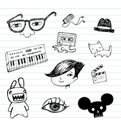 Emo doodle set vector