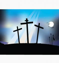 Crucifixion night scene vector