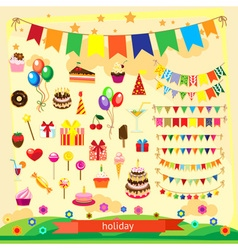 Holiday icon set flat design vector