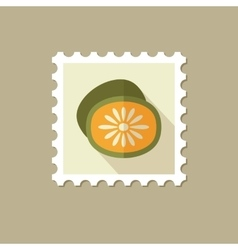 Kiwi flat stamp with long shadow vector