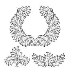 Vintage baroque floral leaf scroll ornament vector