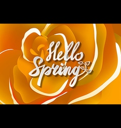 Hello spring text with flowers and butterflies vector