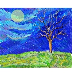 Tree in a field in the moolight sketch landscape vector