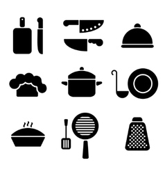 Black minimal kitchen cookware icon set vector